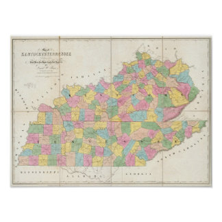 Map of Kentucky & Tennessee Poster