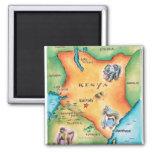 Map of Kenya 2 Inch Square Magnet