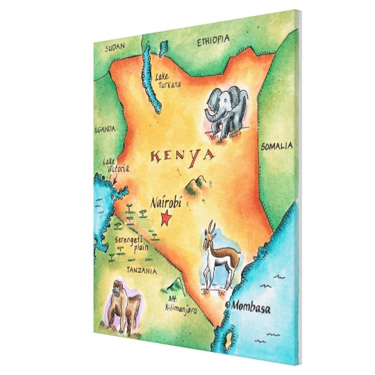 Map of Kenya Canvas Print