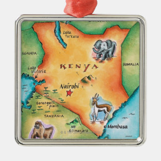 Map of Kenya Metal Ornament