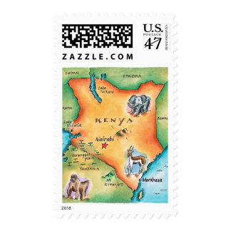 Map of Kenya Postage