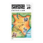Map of Kenya Postage Stamp