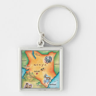 Map of Kenya Silver-Colored Square Keychain