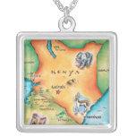 Map of Kenya Square Pendant Necklace