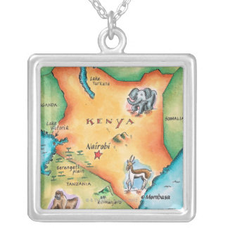Map of Kenya Square Pendant Necklace