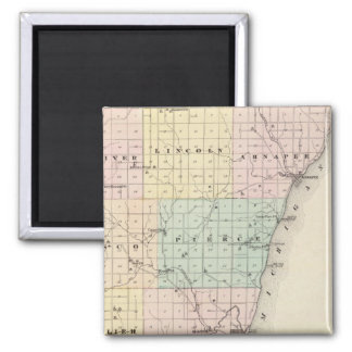Map of Kewaunee County 2 Inch Square Magnet