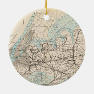 Map of Kings, Queens, Long Island Ceramic Ornament