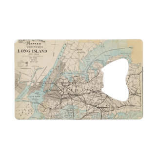 Map of Kings, Queens, Long Island Credit Card Bottle Opener