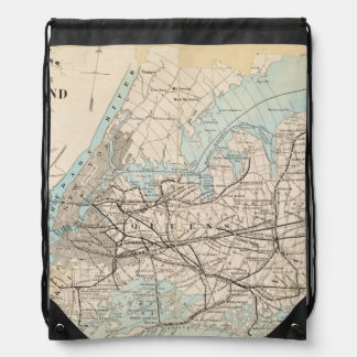 Map of Kings, Queens, Long Island Drawstring Backpack
