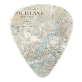 Map of Kings, Queens, Long Island Pearl Celluloid Guitar Pick