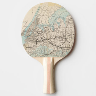 Map of Kings, Queens, Long Island Ping Pong Paddle