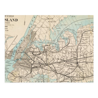 Map of Kings, Queens, Long Island Postcard