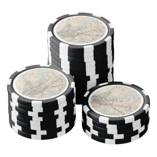 Map of Kings, Queens, Long Island Set Of Poker Chips