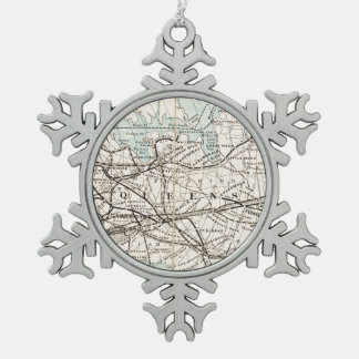 Map of Kings, Queens, Long Island Snowflake Pewter Christmas Ornament