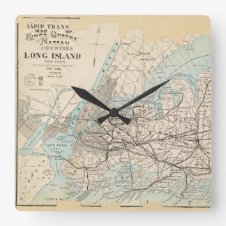 Map of Kings, Queens, Long Island Square Wall Clock