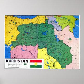 Map of Kurdistan Poster