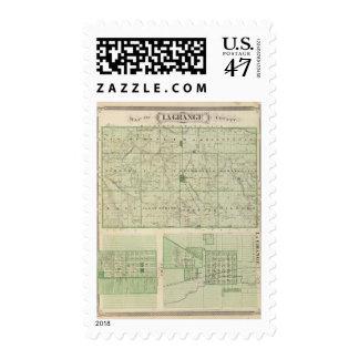 Map of Lagrange County with La Grange, Lima Postage