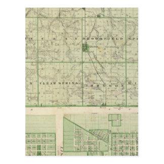 Map of Lagrange County with La Grange, Lima Postcard
