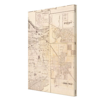 Map of Lake County with Lowell Canvas Print