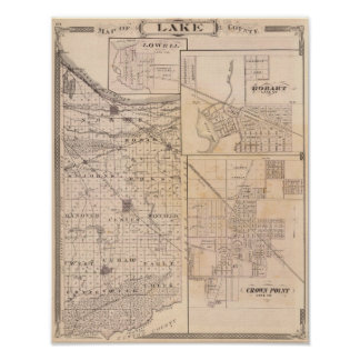 Map of Lake County with Lowell Poster