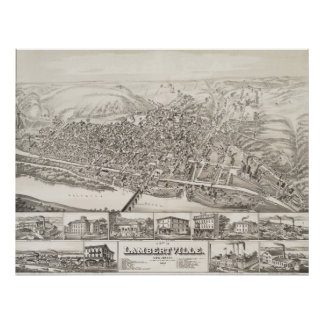 Map of Lambertville, New Jersey in 1883 Poster