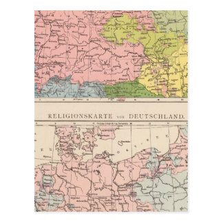 Map of Languages and Religions in Germany Postcard