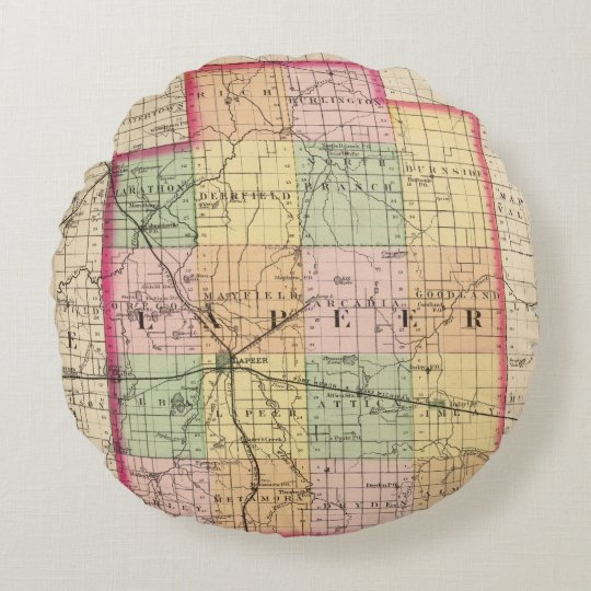 Map of Lapeer County, Michigan Round Pillow