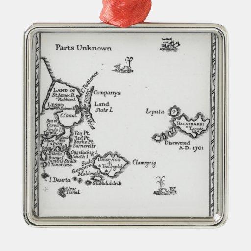 Map of Laputa, Balnibari, Luggnagg Metal Ornament
