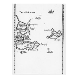 Map of Laputa, Balnibari, Luggnagg Postcard