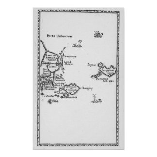 Map of Laputa, Balnibari, Luggnagg Poster