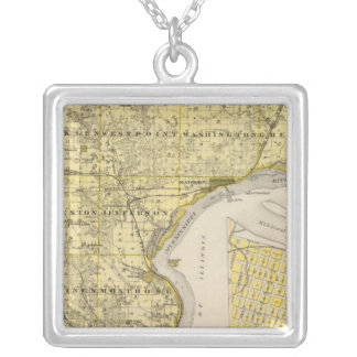 Map of Lee County and Montrose, State of Iowa Silver Plated Necklace