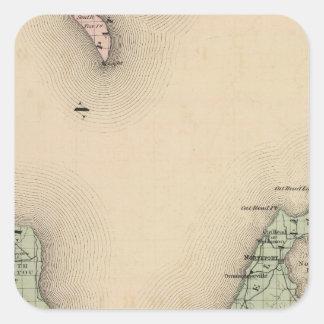 Map of Leelanau County, Michigan Square Sticker
