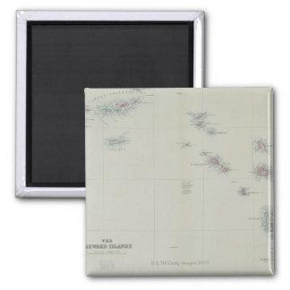 Map of Leeward Islands 2 Inch Square Magnet