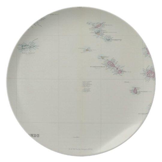 Map of Leeward Islands Dinner Plate