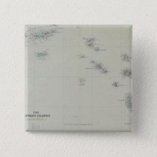 Map of Leeward Islands Pinback Button