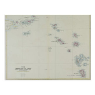 Map of Leeward Islands Postcard