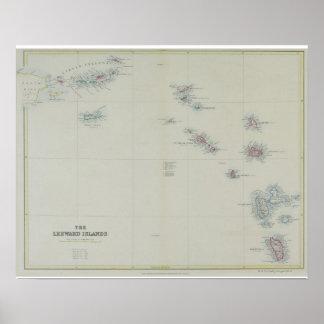 Map of Leeward Islands Poster