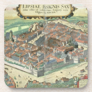 Map of Leipzig, from 'Civitates Orbis Terrarum' by Drink Coaster