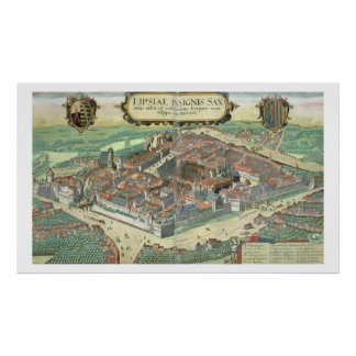 Map of Leipzig, from 'Civitates Orbis Terrarum' by Poster