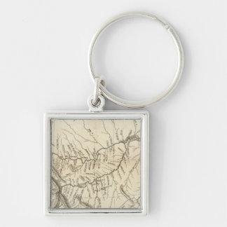 Map of Lewis and Clark's Track Silver-Colored Square Keychain