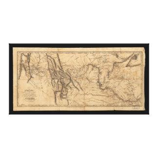 Map of Lewis & Clark's Across Western America 1814 Canvas Print