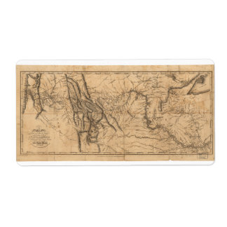 Map of Lewis & Clark's Across Western America 1814 Label