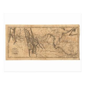 Map of Lewis & Clark's Across Western America 1814 Postcard