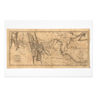 Map of Lewis & Clark's Across Western America 1814 Stationery