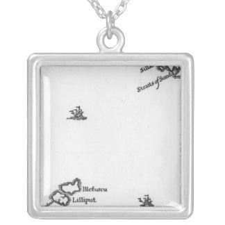Map of Lilliput and Blefuscu Square Pendant Necklace