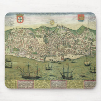 Map of Lisbon, from 'Civitates Orbis Terrarum' by Mouse Pad