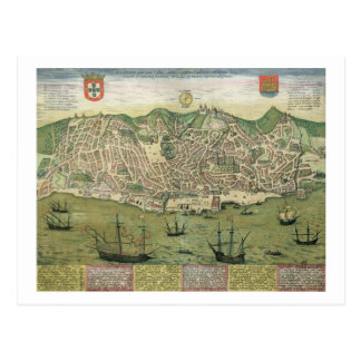 Map of Lisbon, from 'Civitates Orbis Terrarum' by Postcard