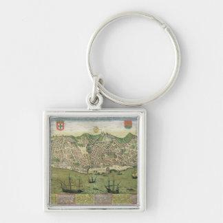 Map of Lisbon, from 'Civitates Orbis Terrarum' by Silver-Colored Square Keychain