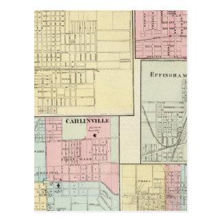 Map of Litchfield, Carlinsville, Salem Postcard