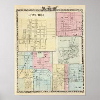 Map of Litchfield, Carlinsville, Salem Poster